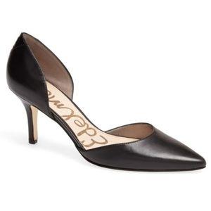 Sam Edelman opal black leather pump heel